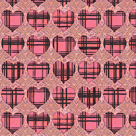 Plaid Hearts, Pink and Black fabric by palifino on Spoonflower - custom fabric