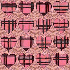 Plaid Hearts, Pink and Black