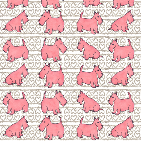 Pink Scottie Dogs and Hearts fabric by palifino on Spoonflower - custom fabric