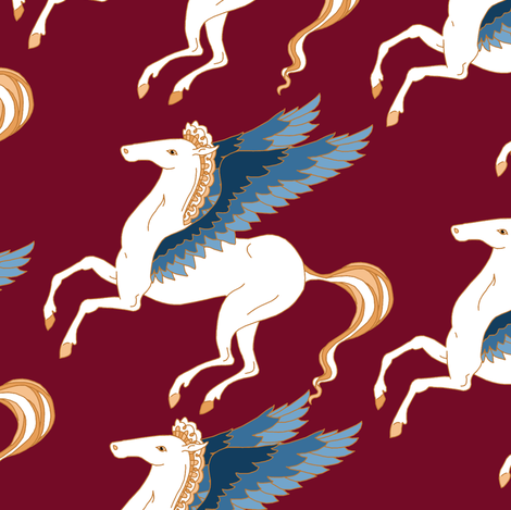Pegasus on Red fabric by pond_ripple on Spoonflower - custom fabric