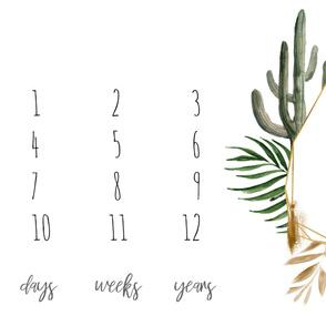 "54""x36 // Boho Tropical Cactus Frame Baby Milestone Blanket"