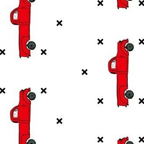 """4"""" Vintage Red Truck & Xs / 90 degrees"""
