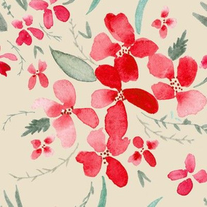 Red and Cream Watercolor Floral