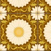Golden Brown Spanish Floral Tile
