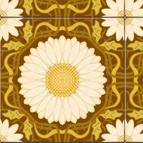 Golden Brown Spanish Floral Tile