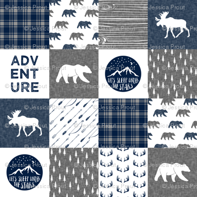 happy camper patchwork fabric - navy and grey