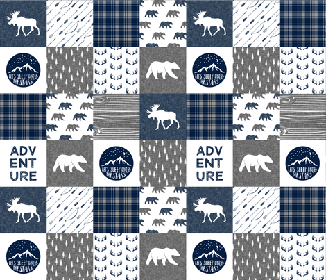 happy camper patchwork fabric - navy and grey  fabric by littlearrowdesign on Spoonflower - custom fabric