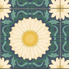Blue Green Spanish Floral Tile