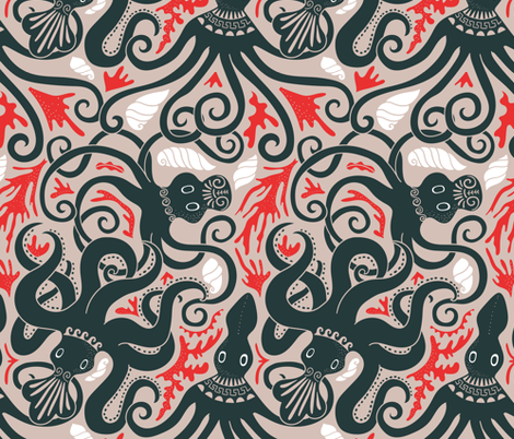 Minoan octopus pattern. Ancient Greek animals. fabric by kostolom3000 on Spoonflower - custom fabric