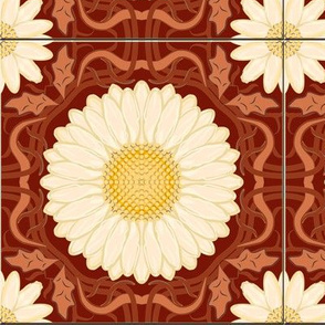 Rust Red Spanish Floral Tile