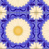 Blue Violet Spanish Floral Tile
