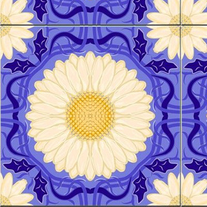 Blue Violet Spanish Floral Tile