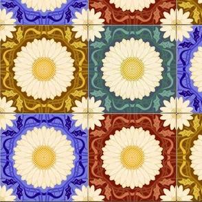 Four Color Spanish Floral Tile Half Drop