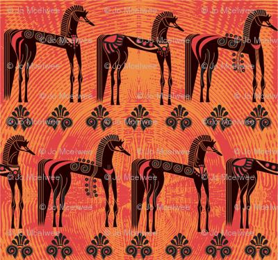 Greek horses on orange