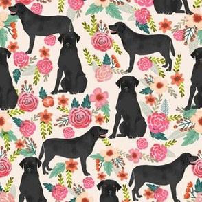 black lab fabric black labrador florals design - cream