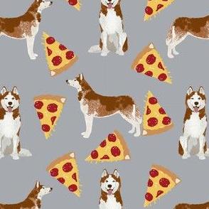 Red husky fabric - husky pizza designs - grey