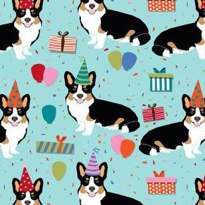 tri corgi birthday fabric - corgi birthdays - blue