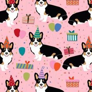 tri corgi birthday fabric - corgi birthdays - pink