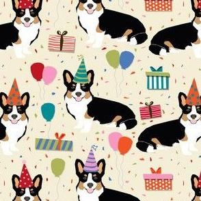 tri corgi birthday fabric - corgi birthdays - cream