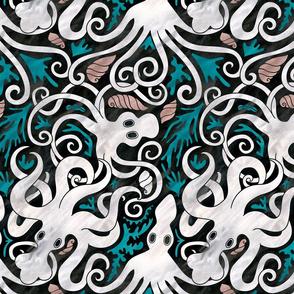 greek octopuses pattern dark