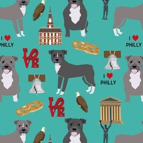 pitbulls in philly fabric - pitbull philadelphia, travel, dog, us, cities design - turquoise