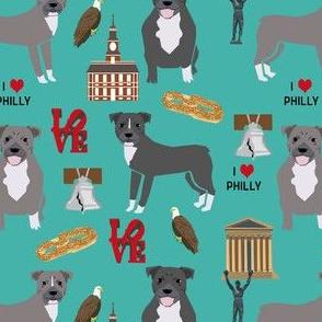 pitbulls in philly fabric - pitbull philadelphia, travel, dog, us, cities design - turquoise