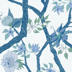 Peony Branch Mural in Blues and Greens