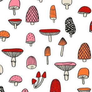 mushroom // nature woodland forest mushrooms foods botanical fabric white pink