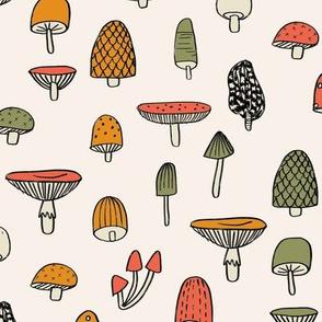 mushroom // nature woodland forest mushrooms foods botanical fabric beige