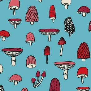 mushroom // nature woodland forest mushrooms foods botanical fabric medium blue