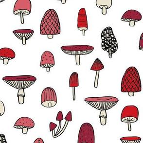 mushroom // nature woodland forest mushrooms foods botanical fabric white