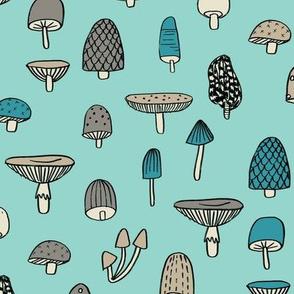 mushroom // nature woodland forest mushrooms foods botanical fabric mint