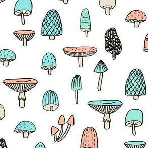mushroom // nature woodland forest mushrooms foods botanical fabric white mint