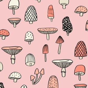 mushroom // nature woodland forest mushrooms foods botanical fabric pink