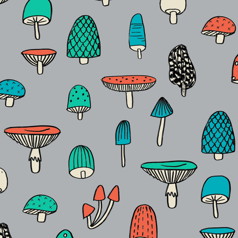 mushroom // nature woodland forest mushrooms foods botanical fabric grey fabric by andrea_lauren on Spoonflower - custom fabric