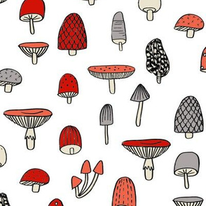 mushroom // nature woodland forest mushrooms foods botanical fabric white red