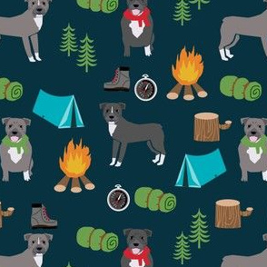 pitbull camping fabric - dogs and camping, campfire, tent, outdoors, summer - dark blue