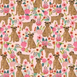 Brussels Griffon floral dog fabric - pink - smaller