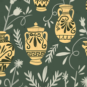 Greek vases with flowers
