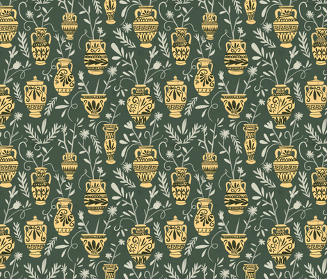 Greek vases with flowers fabric by natalia_gonzalez on Spoonflower - custom fabric
