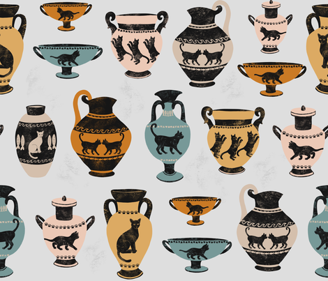 Ancient Greek Cat Pottery fabric by heather_anderson on Spoonflower - custom fabric