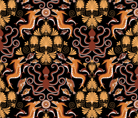oceanus fabric by juditgueth on Spoonflower - custom fabric