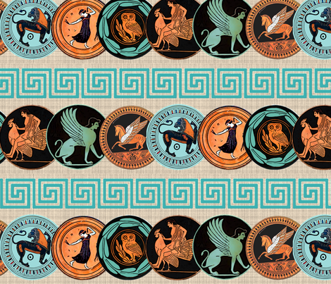 Greek plates fabric by lucybaribeau on Spoonflower - custom fabric