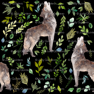 """8"""" Summer In The Wild Wolf and Foliage - Black"""