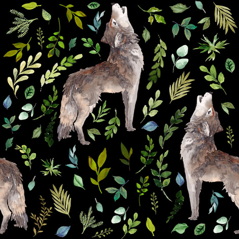 """8"""" Summer In The Wild Wolf and Foliage - Black fabric by shopcabin on Spoonflower - custom fabric"""