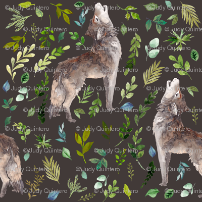 """4"""" Summer In The Wild Wolf and Foliage - Brown"""