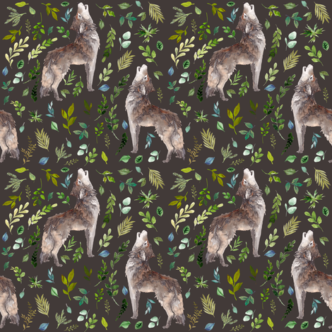 """4"""" Summer In The Wild Wolf and Foliage - Brown fabric by shopcabin on Spoonflower - custom fabric"""