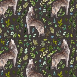 "4"" Summer In The Wild Wolf and Foliage - Brown"
