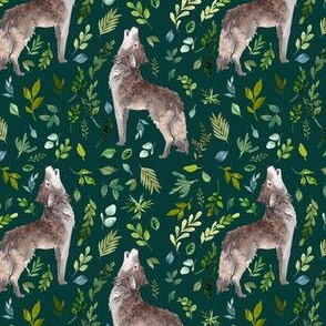 "4"" Summer In The Wild Wolf and Foliage - Dark Aqua"