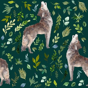 "8"" Summer In The Wild Wolf and Foliage - Dark Aqua"